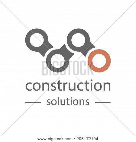Technological theme logo. Building company and architect bureau insignia, logo illustration isolated on white background.