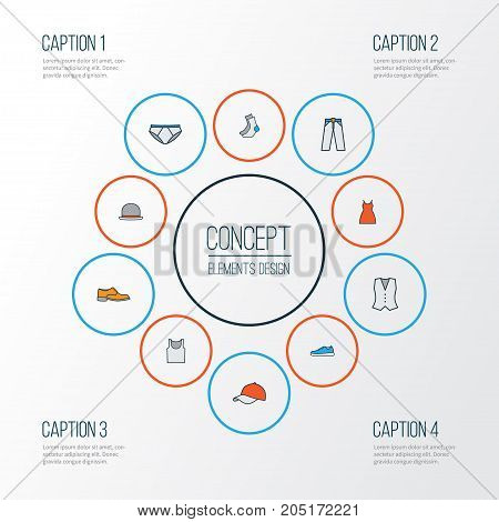Garment Colorful Outline Icons Set. Collection Of Vest, Socks, Panties And Other Elements