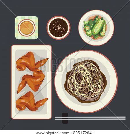 Korea food set black soysauce with noodle and side dish.