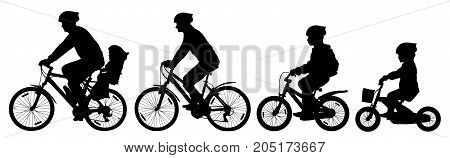 Man woman and children boy and girl on a bicycle riding on a bike cyclist set silhouette vector