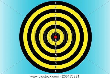 Darts. Back Dartboard. Vector illustration, on blue gradient background