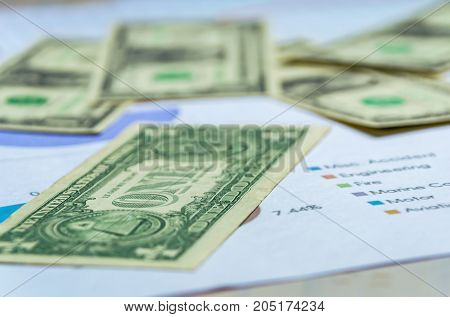 Closeup Cash dollar signs with bussiness growth on white wooden background.Bussiness concept.