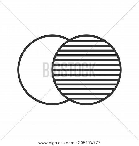 Overlapping linear icon. Thin line illustration. Convergence abstract metaphor. Contour symbol. Vector isolated outline drawing