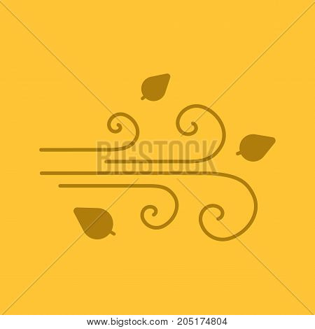 Wind blowing glyph color icon. Silhouette symbol. Windy weather. Negative space. Vector isolated illustration
