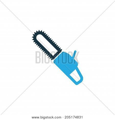Premium Quality Isolated Saw Element In Trendy Style.  Chainsaw Colorful Icon Symbol.