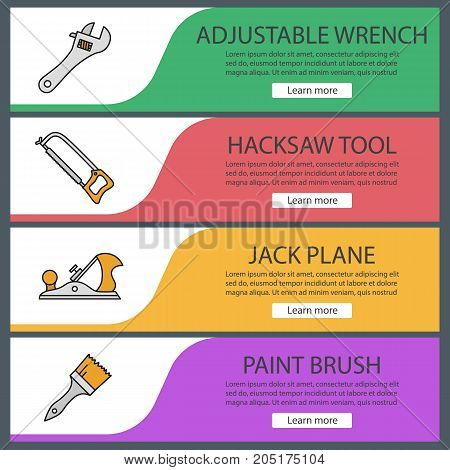 Construction tools web banner templates set. Adjustable wrench, hacksaw, jack plane, paint brush. Website color menu items. Vector headers design concepts