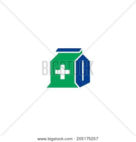 Piil flat icon. Single high quality symbol of line antibiotic vector for web design or mobile app. Color sign of medical for design logo. Single pictogram on white background