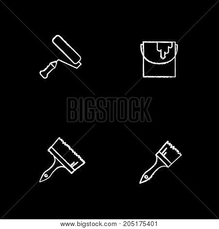 Painting tools chalk icons set. Paint brushes, bucket, roller. Isolated vector chalkboard illustrations