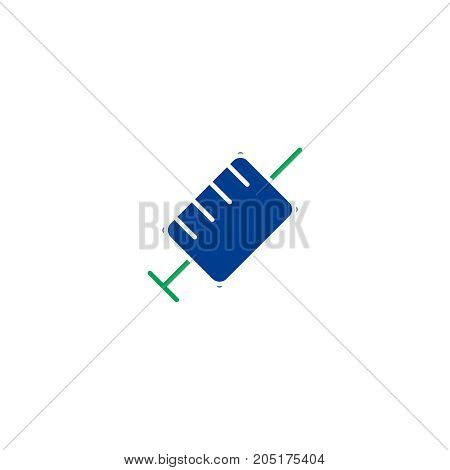 Syringe flat icon. Single high quality symbol of line vaccint vector for web design or mobile app. Color sign of veterinary for design logo. Single pictogram on white background