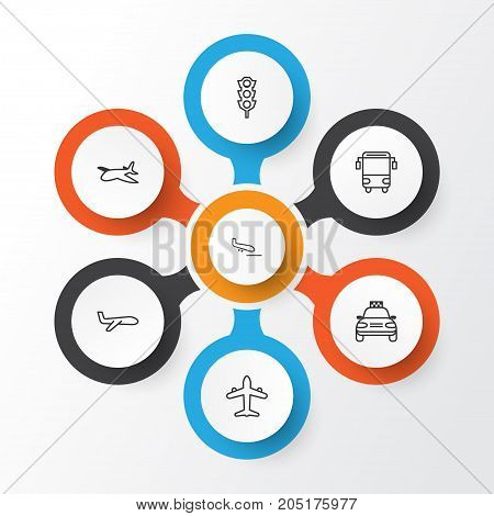 Transport Icons Set. Collection Of College Transport, Air Transport, Car Vehicle And Other Elements