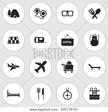 Set Of 16 Editable Trip Icons. Includes Symbols Such As Eyeglasses, Tabernacle, Mattress And More