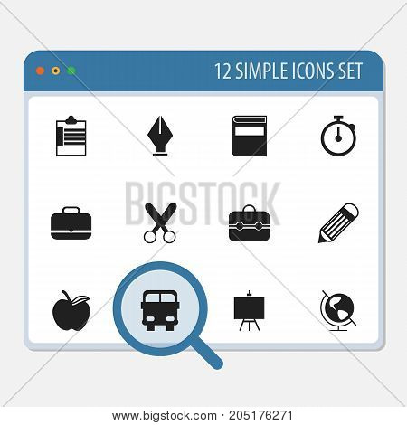 Set Of 12 Editable School Icons. Includes Symbols Such As Apple, Earth Planet, Eraser And More
