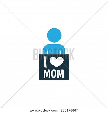 Premium Quality Isolated Placard Element In Trendy Style.  I Love Mom Colorful Icon Symbol.