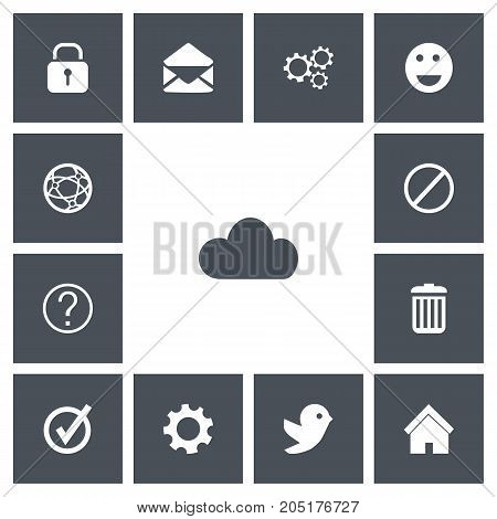 Set Of 13 Editable Internet Icons. Includes Symbols Such As Network, Deny, Quiz And More
