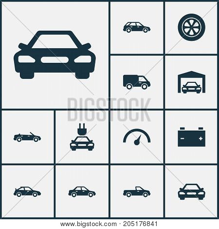 Car Icons Set. Collection Of Convertible Model, Carriage, Plug And Other Elements