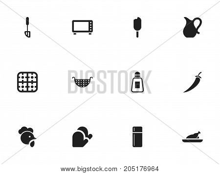 Set Of 12 Editable Cooking Icons. Includes Symbols Such As Cock, Oven, Gas Burner And More