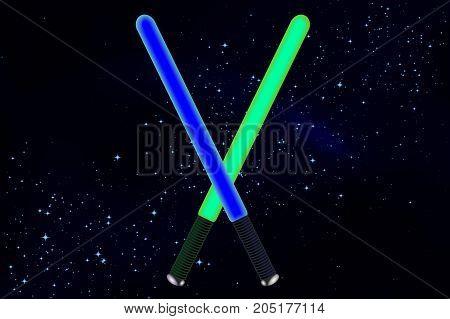 Swords in space, vector art illustration wars.