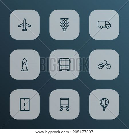 Transportation Outline Icons Set. Collection Of Aircraft, Bike, Bus And Other Elements
