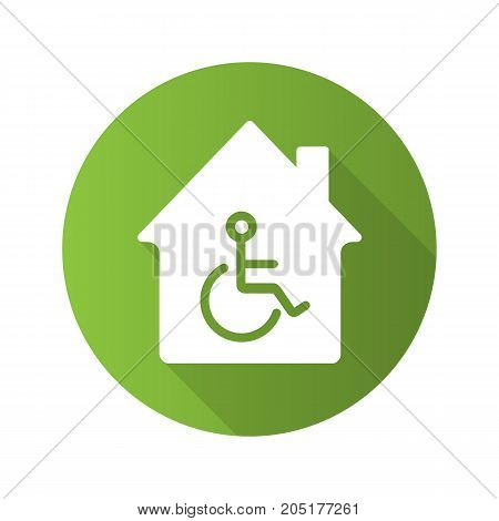 House with special facilities. Flat design long shadow glyph icon. Invalids residence. Vector silhouette illustration