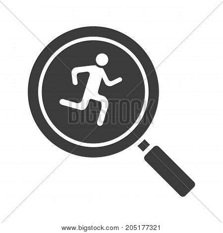 Running man inside loupe glyph icon. Silhouette symbol. Magnifying glass with runner. Negative space. Vector isolated illustration