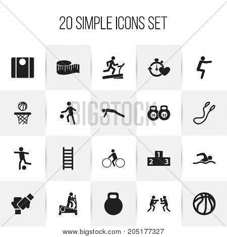 Set Of 20 Editable Lifestyle Icons. Includes Symbols Such As Gauntlet, Workout, Cloth Ruler And More