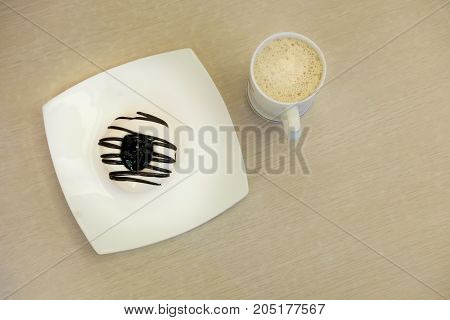 top view of fresh donut with coffee
