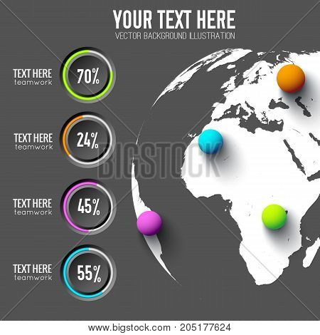 Business web infographics with round buttons percentage and colorful balls on global background vector illustration