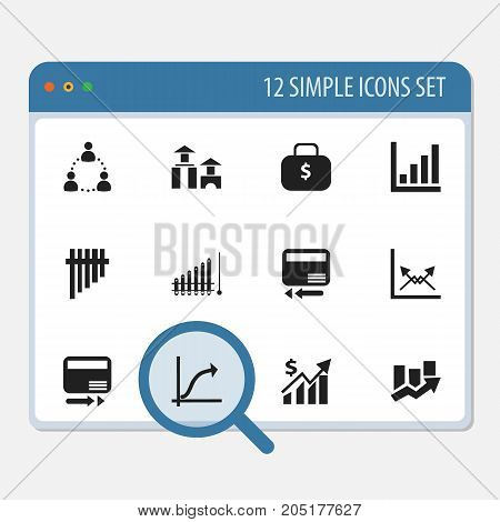 Set Of 12 Editable Logical Icons. Includes Symbols Such As Schema, Report, Upward Direction And More