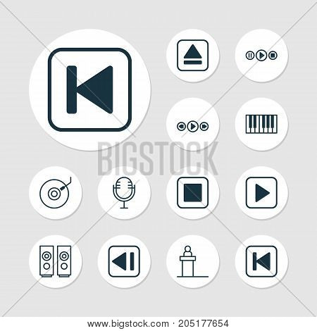 Multimedia Icons Set. Collection Of Song UI, Last Song, Rostrum And Other Elements