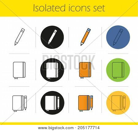 Diary notebooks with pencils icons set. Linear, black and color styles. Notepads with bookmarks. Isolated vector illustrations