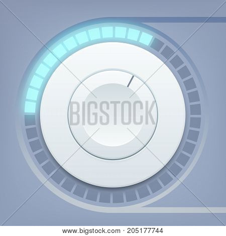 Media interface design template with round volume control and sound scale on light background isolated vector illustration