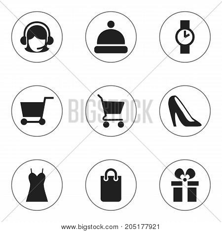 Set Of 9 Editable Shopping Icons. Includes Symbols Such As Stiletto , Present  Box, Handcart
