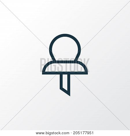 Premium Quality Isolated Pin Element In Trendy Style.  Pushpin Outline Symbol.