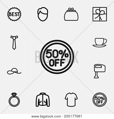 Set Of 12 Editable Trade Outline Icons. Includes Symbols Such As Jewel, Coffee Cup, Men Face And More