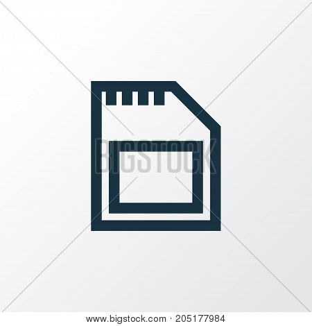 Premium Quality Isolated Memory Element In Trendy Style.  Sd Card Outline Symbol.