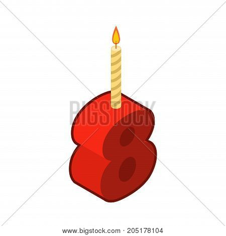 8 Number And Candles For Birthday. Eight Figure For Holiday Cartoon Style. Vector Illustration