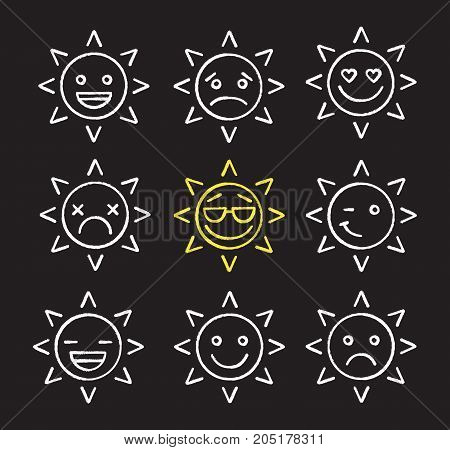 Sun smiles chalk icons set. Bad and good mood. Winking, smiling, dead, happy, cool, in love, yummy sad sun smiles. Isolated vector chalkboard illustrations