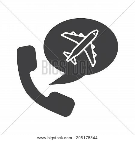 Plane tickets order by phone glyph icon. Silhouette symbol. Handset with airplane inside chat box. Call to travel agency. Negative space. Vector isolated illustration
