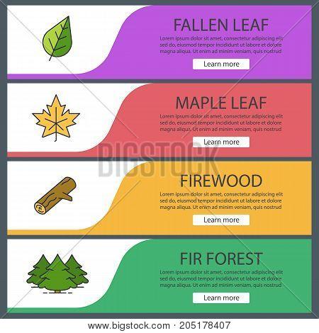 Forestry web banner templates set. Maple leaf, firewood, fir forest. Website color menu items. Vector headers design concepts