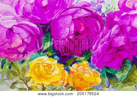 Painting flora art watercolor illustration pink, violet and yellow color of the roses and emotion beauty in nature season or abstract background. Hand painted Greeting cards on special occasions.