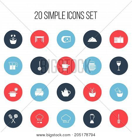 Set Of 20 Editable Cooking Icons. Includes Symbols Such As Saucepan, Cheddar, Teapot And More