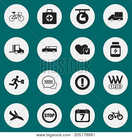 Set Of 16 Editable Complicated Icons. Includes Symbols Such As Businessman, Caution, Velocipede And More