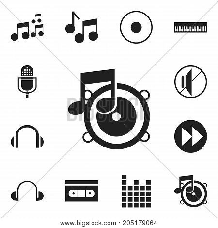Set Of 12 Editable Melody Icons. Includes Symbols Such As Loudspeaker, Ahead, Tape And More