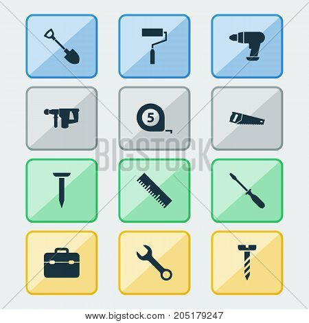 Handtools Icons Set. Collection Of Paint, Digging, Spanner And Other Elements