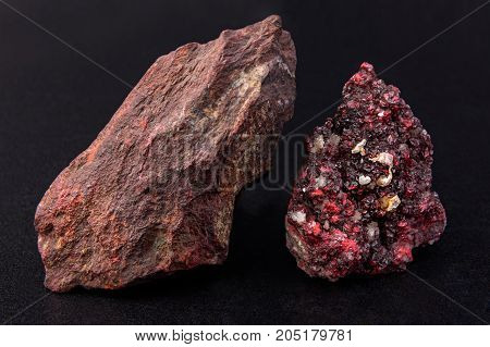 Mineral cinnabar color brightly red. Diamond gloss. Is a rtura source