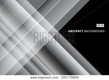 Abstract gray and white image that depicts technology with overlapping diagonal lines. Vector illustration