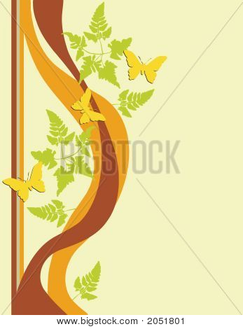 Butterflies Foliage Leaf Ornamental Art