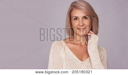Happy Smiling Senior Woman Isolated