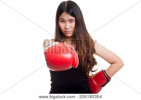 Young Asian Woman With Red Boxing Gloves.