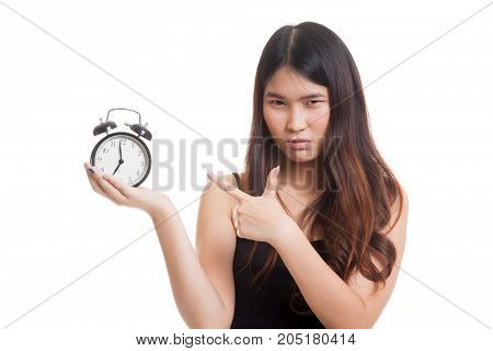 Angry Young Asian Woman Point To A Clock.